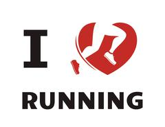 I love running, font type with heart runner icon Stock Illustration