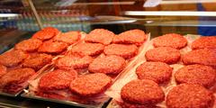 Red beef burger for sale by the butcher Stock Photos