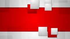 Red grey bright abstract squares tech video animation. Seamless loop design Stock Footage