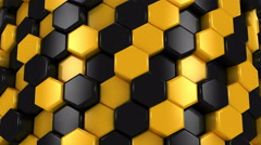 Stock Video Footage of Abstract Background of Yellow and Black Honeycombs