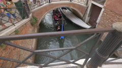 Stock Video Footage of High angle view of a gondola passing under a bridge in Venice