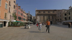 Campo Santo Stefano with Santo Stefano Church, Venice Stock Footage