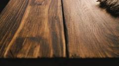 Treated wood planks. Close-up Stock Footage