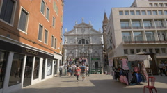 People walking towards Chiesa di San Moise in Venice Stock Footage