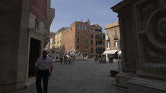Campo San Moise with bridge and old buildings in Venice Stock Footage