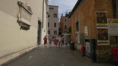 Groups of tourists walking in Campo Santa Maria del Giglio, Venice Stock Footage