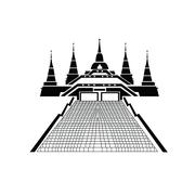 Pagoda and temple silhouette black icon - stock illustration