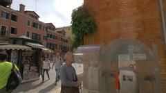 Campo Santa Maria del Giglio with souvenir stalls in Venice Stock Footage