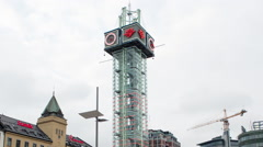 Time Lapse Zoom of Tower at Central Station -  Oslo Norway Europe - stock footage