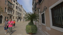 People walking in Campo Santa Maria Giglio in Venice Stock Footage