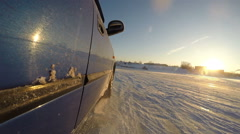 A car . Sport Riding. Ice skid machine. - stock footage