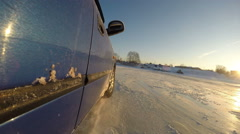 Sport riding in a car. Skid car on ice. - stock footage