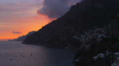 Sunset Positano Mountains Boats Amalfi Coast Italy 4K Stock Video Footage - stock footage