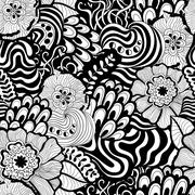 Vector seamless abstract hand-drawn pattern design - stock illustration