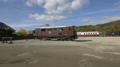 View of beautiful vintage Mocanita wagons Stock Footage