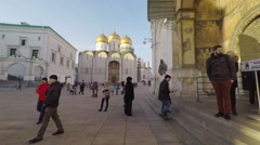 MOSCOW, RUSSIA, POV, tourist and locals walking in Moscow Kremlin. Stock Footage