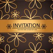 Art brown golden background, invitation card Stock Illustration