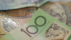 Australian dollar bills rotating Stock Footage
