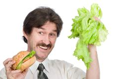 The man has chosen salad - stock photo