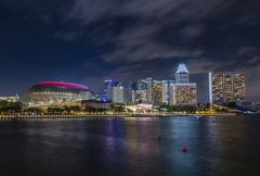 Night View of Esplanade - Theatres on the Bay,Singapore Stock Photos
