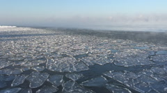 Ice floating on waves in winter, fog over the water Stock Footage