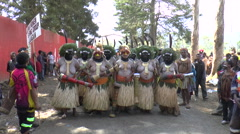 Group of Papuans before traditional festival Stock Footage