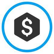 Dollar Hexagon Icon - stock illustration
