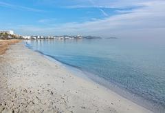 Dreamy soft winter beach Ibiza Stock Photos