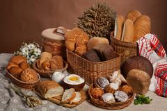 Still Life With Bread In Russian National Style Stock Photos