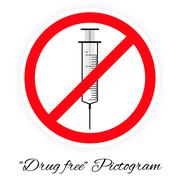 Drug free pictogram, black and white - stock illustration