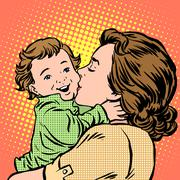 Stock Illustration of Mother kissing baby