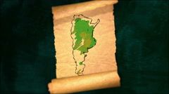 Argentina Map Painting Unfolding Old Paper Scroll 3D 4K - stock footage
