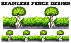 Seamless fence with green bushes - stock illustration