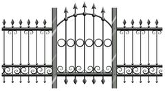 Seamless metal fence with doorway - stock illustration