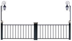 Metal fence and lampposts - stock illustration