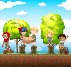 Children standing on the log - stock illustration