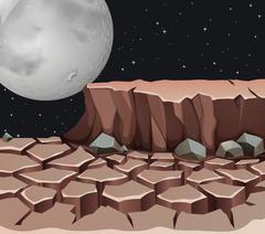 Nature scene with dryland on fullmoon night - stock illustration