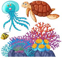 Sea animals and coral reef - stock illustration