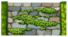 Seamless fence design with brick wall and plant - stock illustration