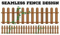 Seamless wooden fence design with vine - stock illustration