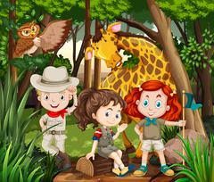 Children and wild animals in the woods Stock Illustration