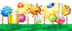 Bacteria attacking the lab - stock illustration