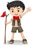 Little boy holding a walking stick - stock illustration