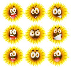 Sunflowers with facial expression - stock illustration