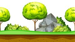 Nature scene with tree and rocks - stock illustration