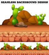 Seamless background with cactus and rocks - stock illustration