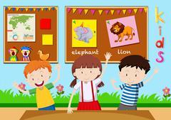 Three children learning in classroom - stock illustration