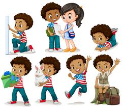 African american boy doing different activities Stock Illustration
