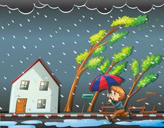 Boy running in the windy night Stock Illustration
