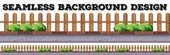 Seamless background design with wooden fence - stock illustration